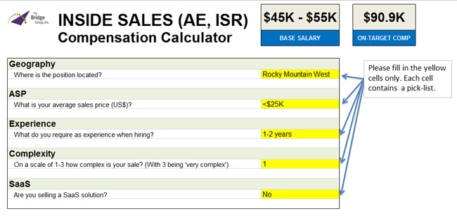 Inside Sales Compensation Calculator